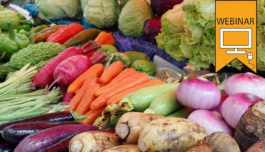 Text: Webinar. Photo of fresh vegetable at a market stand.