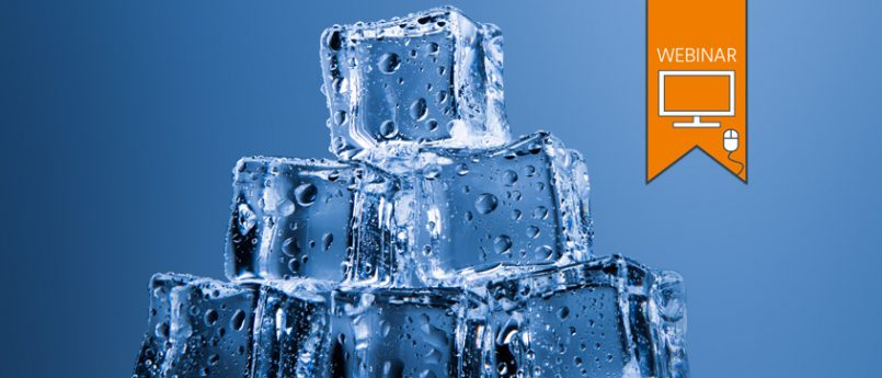 Text:'WEBINAR'. Photo of ice cubes stacked in a pyramid against a blue background.